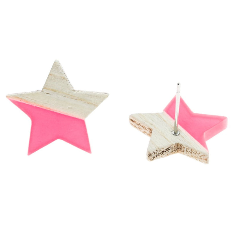 Wood Stainless Steel Earrings - Pink Resin Star Studs - 18mm x 17mm - 2 Pieces 1 Pair - ER142