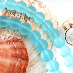 Round Cultured Sea Glass Beads 10mm - Frosted Blue - 1 Strand 22 Beads - U169