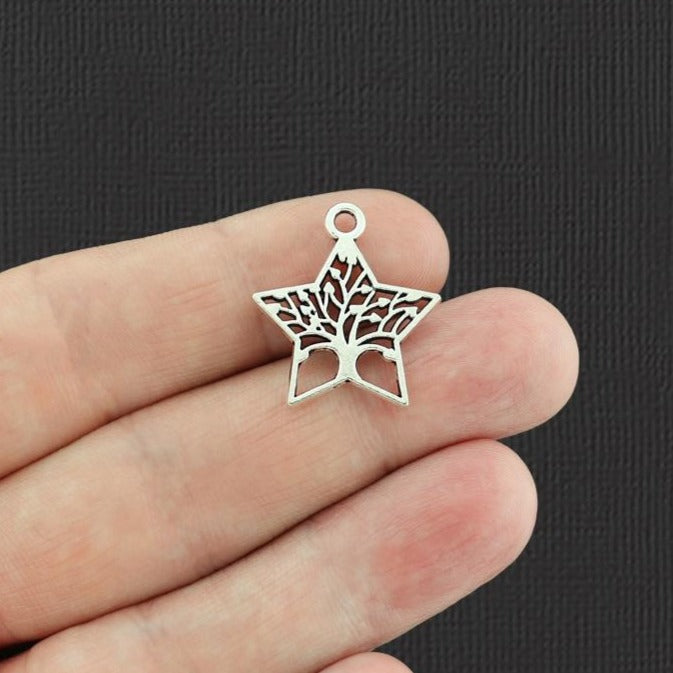 10 Star Tree of Life Antique Silver Tone Charms 2 Sided - SC4067