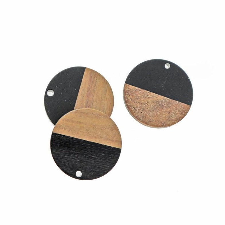 2 Round Natural Wood and Black Resin Charms 28mm - WP066