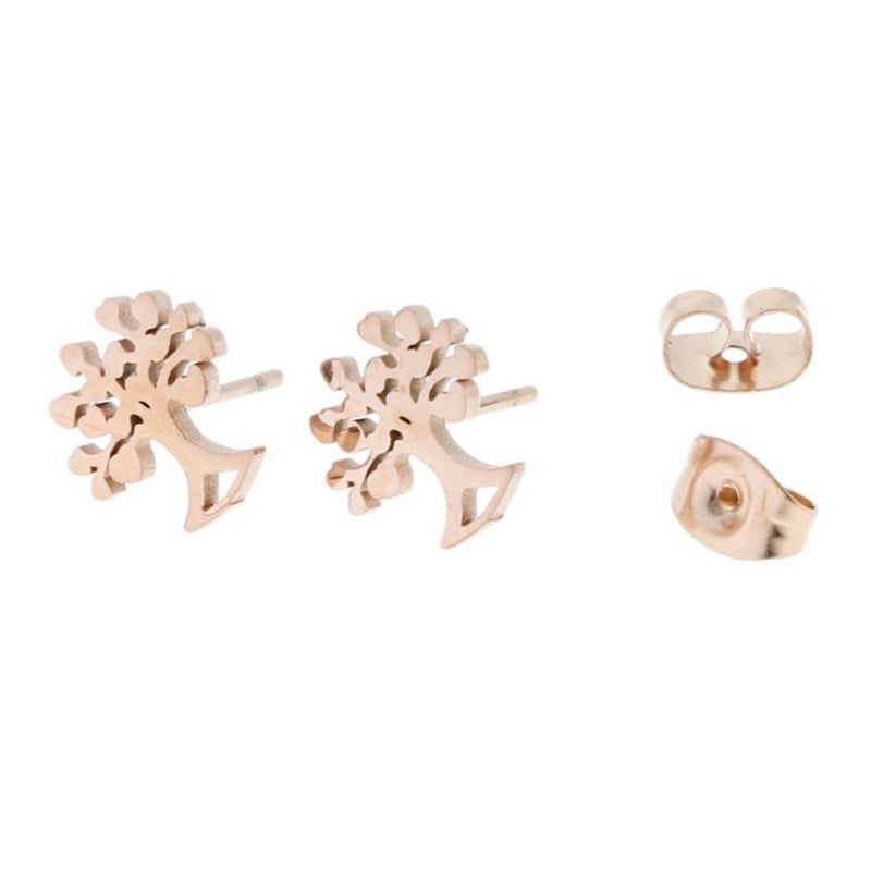 Rose Gold Stainless Steel Earrings - Tree Studs - 10mm x 9mm - 2 Pieces 1 Pair - ER016