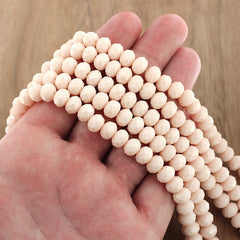 Faceted Glass Beads 8mm x 6mm - Beige - 1 Strand 67 Beads - BD1659