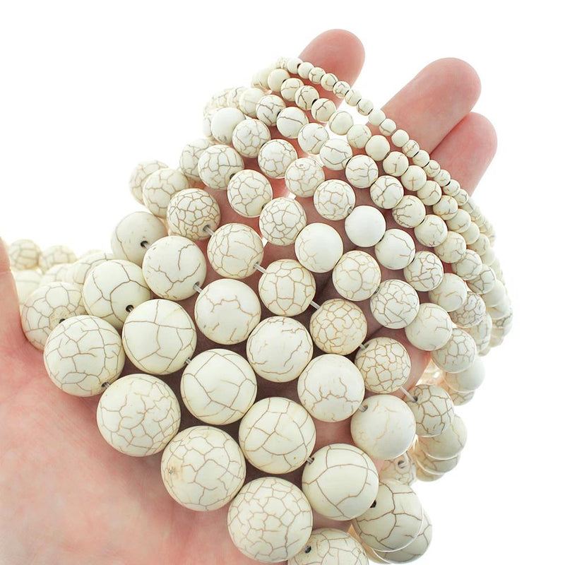 "Round Natural White Turquoise Beads 4mm - 20mm - Choose Your Size - Cream Marble - 1 Full 15.5"" Strand - BD1822"