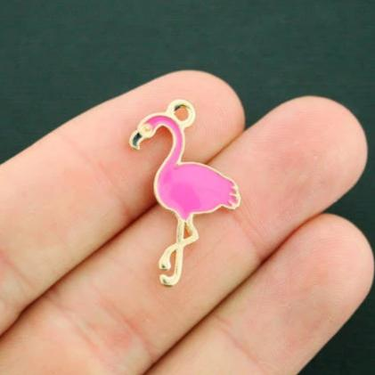 4 Pink Flamingo Gold Tone Enamel Charms - E387
