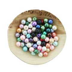 Round Glass Beads 8mm - Assorted Pearl Rainbow - 200 Beads - BD2434