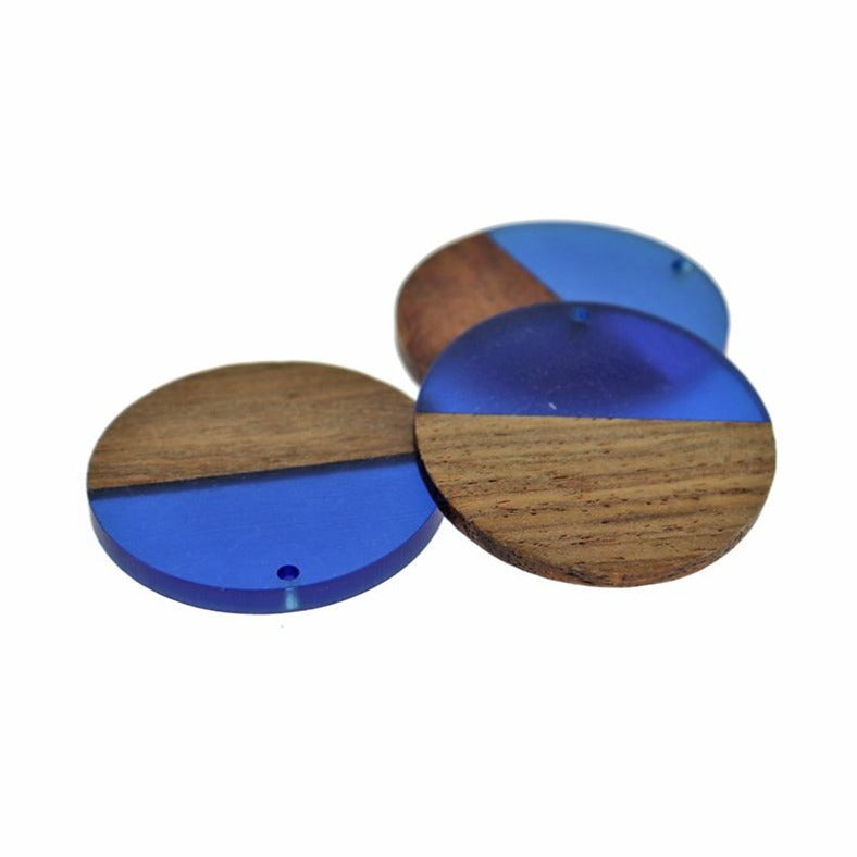 Round Natural Wood and Royal Blue Resin Charm - Z1199