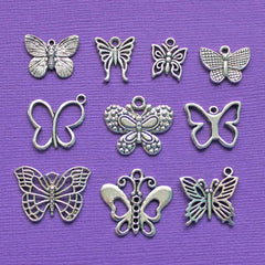 Butterfly Charm Collection Antique Silver Tone 10 Charms - COL021