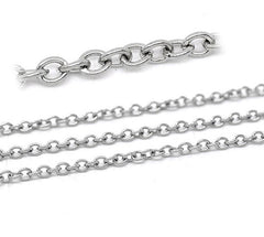 BULK Silver Tone Cable Chain 32ft - 2.5mm - FD166