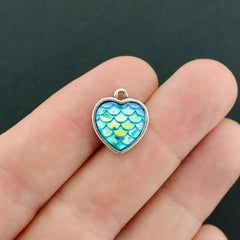 4 Mermaid Scale Heart Antique Silver Tone Cabochon Charms - Z556