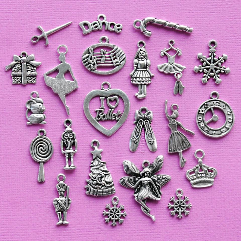 Deluxe The Nutcracker Ballet Charm Collection Antique Silver Tone 22 Charms - COL323