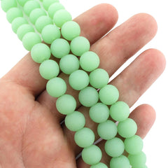 Round Cultured Sea Glass Beads 10mm - Frosted Green - 1 Strand 21 Beads - U148