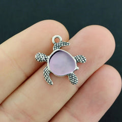 Turtle Antique Silver Tone Charm With Inset Lavender Seaglass - SC1606