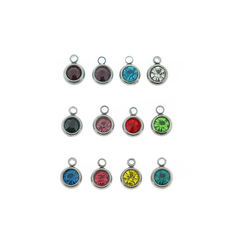 12 Birthstone Drops Silver Tone Stainless Steel Charms - Full Year - DBD628