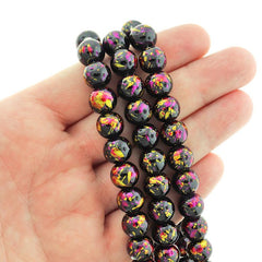 Round Glass Beads 10mm - Glitter Pink and Yellow Drip Black - 1 Strand 82 Beads - BD2582