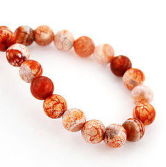 Round Natural Fire Agate Beads - Fiery Oranges and Reds - 1 Strand 43 Beads - BD789