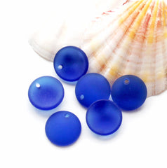 Round Cultured Sea Glass Beads 18mm - Frosted Cobalt Blue - 4 Beads  - U112