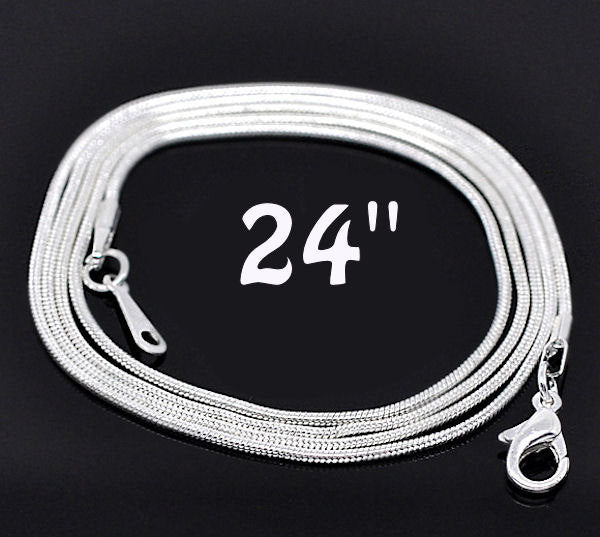 "Silver Tone Snake Chain Necklaces 24"" - 1.2mm - 6 Necklaces - N007"