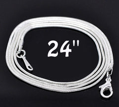 Silver Tone Snake Chain Necklaces 24