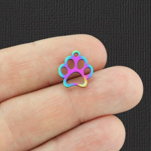 2 Paw Print Rainbow Electroplated Stainless Steel Charms - SSP118