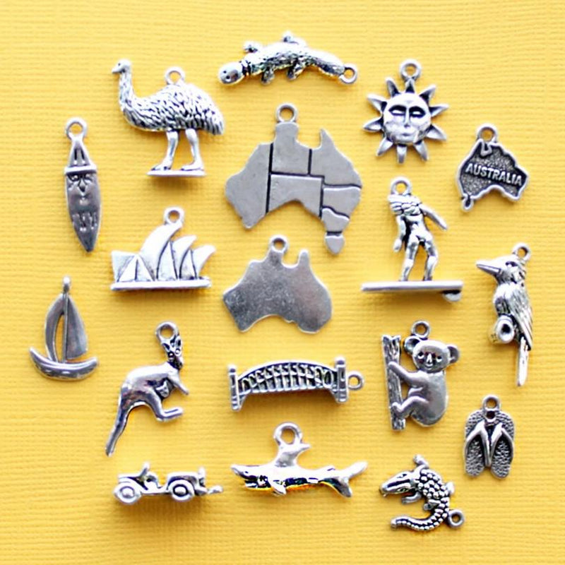 Deluxe Australia Charm Collection Antique Silver Tone 18 Charms - COL329