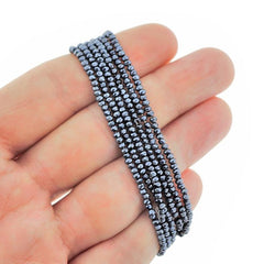 Faceted Glass Beads 2.5mm x 1.5mm - Electroplated Slate Grey - 1 Strand 197 Beads - BD1487