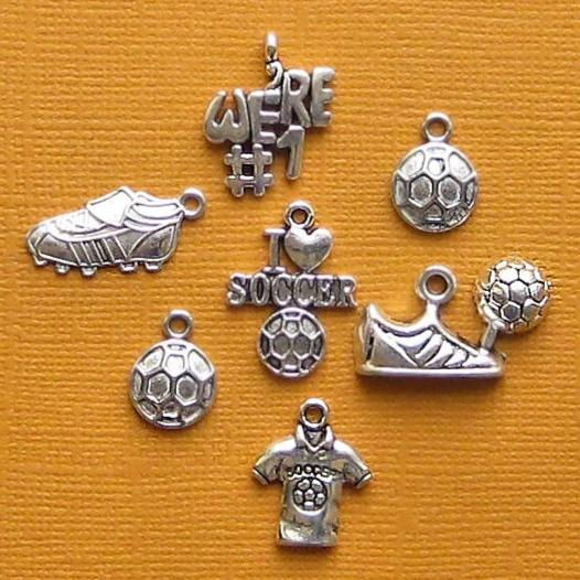 Soccer Charm Collection Antique Silver Tone 7 Charms - COL081