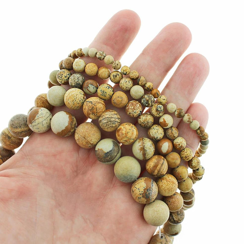 "Round Natural Picture Jasper Beads 4mm - 12mm - Choose Your Size - Granite Earth Tones - 1 Full 15.5"" Strand - BD1831"