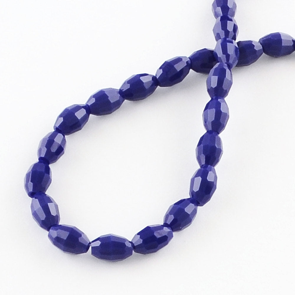 BD1053 BULK 72 Glass Beads Rice Shaped Faceted 6mm x 4mm Full 16 Inch Strand