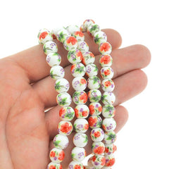 Round Ceramic Beads 8mm - Red Floral - 1 Strand 40 Beads - BD2409