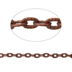 Bulk Antique Copper Tone Cable Chain 32Ft - 3mm - FD291