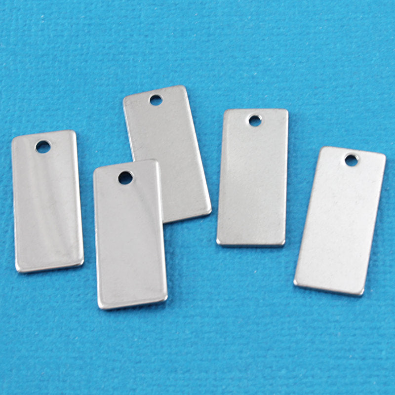 Rectangle Stamping Blanks - Stainless Steel - 9mm x 21mm - 5 Tags - MT217