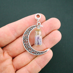 2 Natural Amethyst Crescent Moon Wish Bottle Glass Charms - GEM052