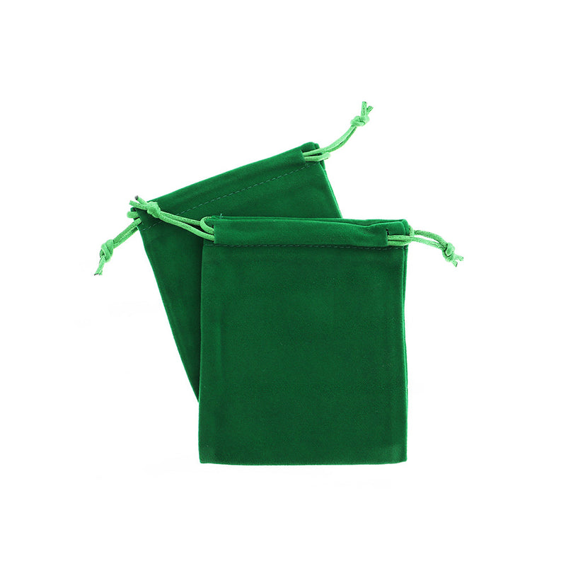 WHOLESALE 50 Velvet Drawstring Bags 12cm x 10cm Christmas Green Jewelry Pouch - TL096