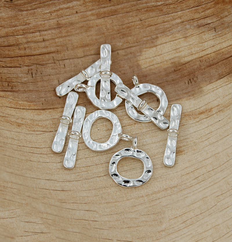 Silver Tone Toggle Clasps 19mm x 4mm - 4 Sets 8 Pieces - FD587