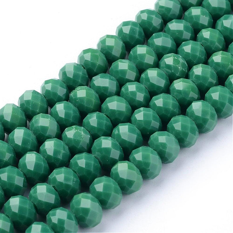 Faceted Glass Beads 8mm x 6mm - Emerald Green - 1 Strand 70 Beads - BD1256