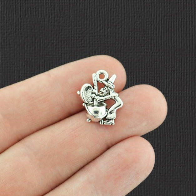 4 Witch and Cauldron Antique Silver Tone Charms - SC7274