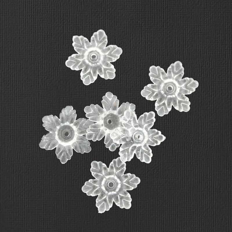 Clear Flower Bead Caps - 21mm x 5mm - 20 Pieces - K124