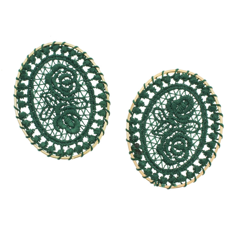 4 Dark Green Woven Lace Oval Gold Tone Pendants - TSP102-B