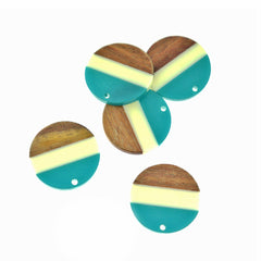 Round Natural Wood and Cyan Resin Charm - Z1398