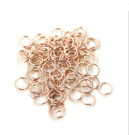 Rose Gold Tone Jump Rings 8mm x 0.8mm - Open 20 Gauge - 300 Rings - J107