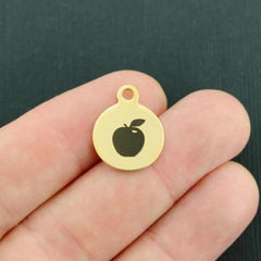 Apple Gold Stainless Steel Charm - Smaller Size - Quantity Options - BFS3687GOLD