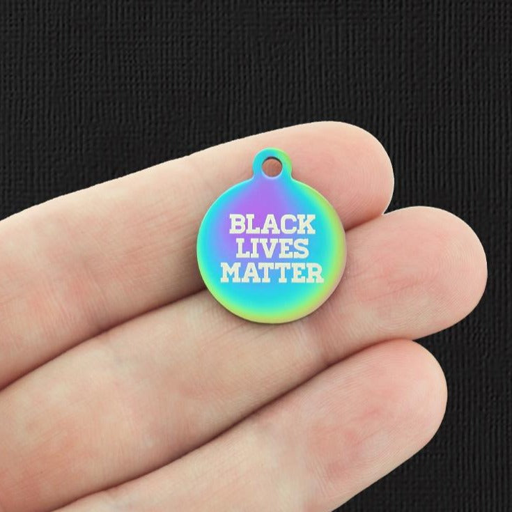 Activist Rainbow Stainless Steel Charm - Black Lives Matter - Exclusive Line - Quantity Options - BFS1317RW