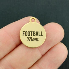 Sports Gold Stainless Steel Charm - Football Mom - Exclusive Line - Quantity Options - BFS1865GOLD