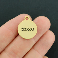 Hugs and Kisses Gold Stainless Steel Charm - XOXO - Exclusive Line - Quantity Options - BFS1891GOLD