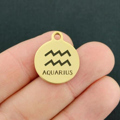 Zodiac Gold Stainless Steel Charm - Aquarius - Exclusive Line - Quantity Options - BFS1971GOLD