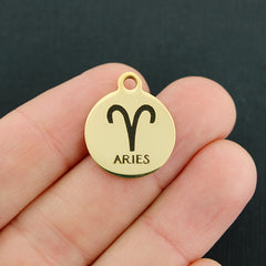Zodiac Gold Stainless Steel Charm - Aries - Exclusive Line - Quantity Options - BFS1972GOLD