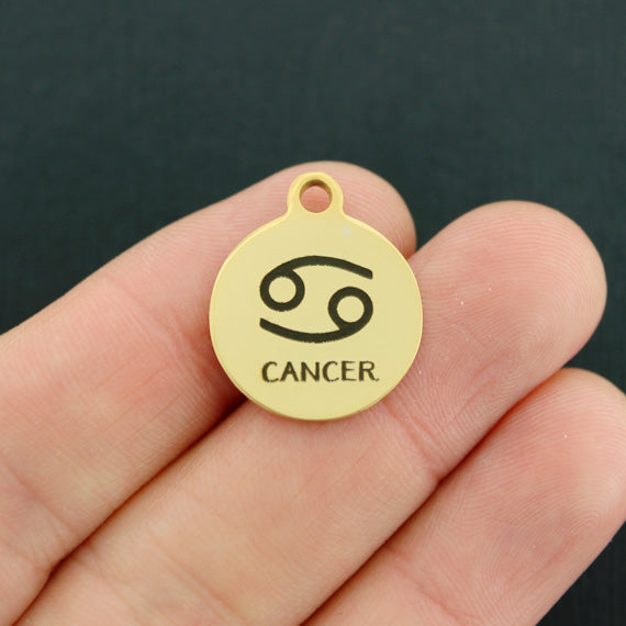 Zodiac Gold Stainless Steel Charm - Cancer - Exclusive Line - Quantity Options - BFS1973GOLD