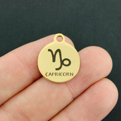 Zodiac Gold Stainless Steel Charm - Capricorn - Exclusive Line - Quantity Options - BFS1974GOLD
