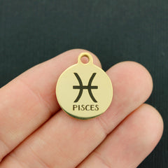 Zodiac Gold Stainless Steel Charm - Pisces - Exclusive Line - Quantity Options - BFS1978GOLD
