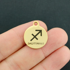 Zodiac Gold Stainless Steel Charm - Sagittarius - Exclusive Line - Quantity Options - BFS1979GOLD